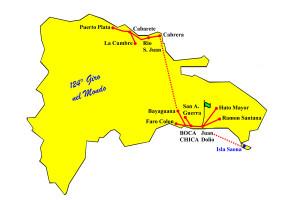 Cicloturismo Santo Domingo 2017 mappa delle tappe